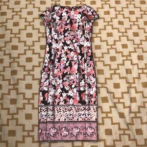 ECi New York Sheath Dress Sz 4 Floral Pink Cream